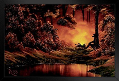 Framed Campfire (Bob Ross Campfire Art Print Painting Framed Poster by ProFrames 14x20 inch)
