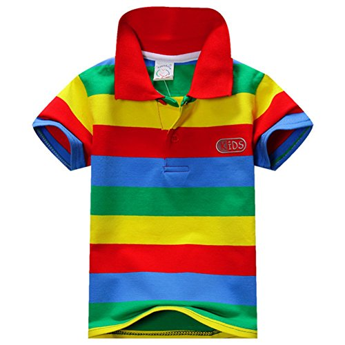 Eshoo Kids Boys Girls Short Sleeve Striped T Shirt Polo