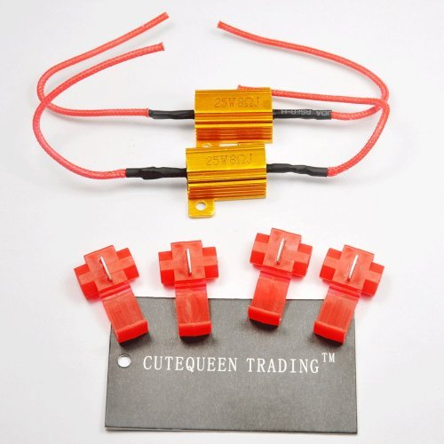 CUTEQUEEN TRADING 2PCS 25W 8Ohm LED Load Resistors for LED Turn Signal Lights or LED License Plate Lights or DRL (Fix Hyper Flash, Warning Cancellor) or stop brake with 4pc Quick wire Clip
