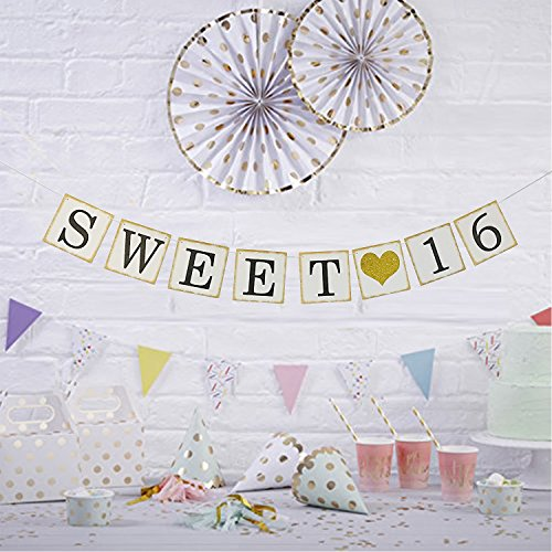 Sweet 16 Birthday Banner Gold Glitter Sixteen Decorations
