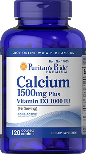Puritan's Pride Calcium 1500 mg with Vitamin D 1000 IU-120 Coated Caplets ()