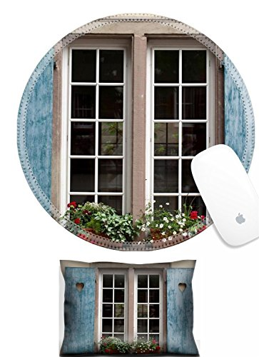 Luxlady Mouse Wrist Rest and Round Mouse Wrist Set IMAGE: 25574844 Window of a house in Eguisheim Alsace (Alsace Set)