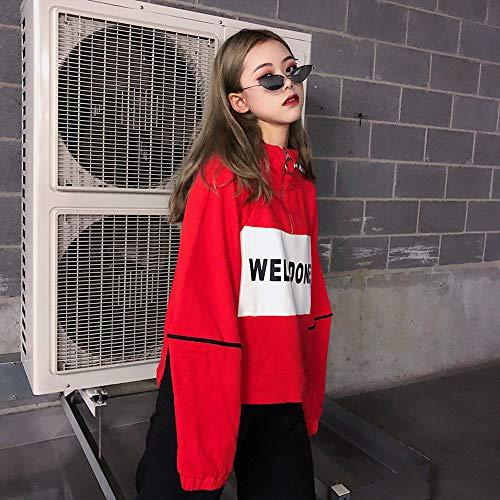 Donna Cappuccio Pullover con Felpe Elegante Maglietta Top camicetta VICGREY manica Donne sciolto Autunno lettera Maglietta lunga Donna camicia Rosso Hoodie Casual stampa vxRfUw