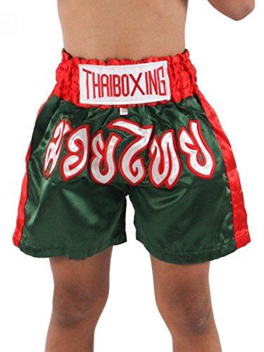 Zothai Kids Muay Thai Kickboxing Shorts MMA Fight Trunks Satin Green S