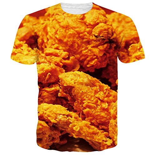 Leapparel Unisex Funny Food Fried Chicken Wings Print Hip Hop T Shirts Tees Apparel XXL Wing Print Tee