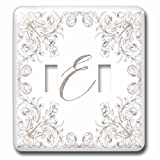 3dRose Uta Naumann Personal Monogram Initials - Letter E Personal Luxury Vintage Glitter Monogram-Personalized Initial - Light Switch Covers - double toggle switch (lsp_275304_2)
