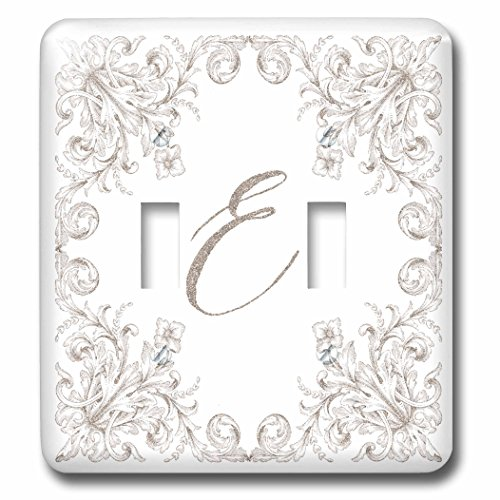 3dRose Uta Naumann Personal Monogram Initials - Letter E Personal Luxury Vintage Glitter Monogram-Personalized Initial - Light Switch Covers - double toggle switch (lsp_275304_2) by 3dRose