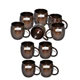 Set of 10 - Prisha India Craft ® Copper Mug for Moscow Mules 550 ML / 18 oz Pure Copper Antique Style Mug Lacquered Finish Best Quality Mule Cup, Moscow Mule Cocktail Cup, Copper Mugs, Cocktail Mugs