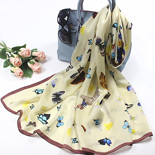 Beige SALY Woman Lady Style Butterfly Print Silk Scarf