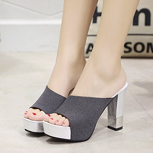 Sandals Ladies Fashion T Sandals Summer Mouth Heel Black Fish Spring Women's Waterproof High JULY Slide 0wICCqYUx