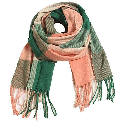 (Wander Agio Kids Scarf Warm Shawls Large Scarves Parent-child Scarf Child Plaid Scarfs Pink Green)
