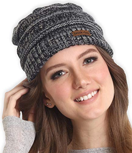 Cable Knit Winter Hat - Brook + Bay Cable Knit Multicolored Beanie - Stay Warm & Stylish - Thick, Soft & Chunky Beanie Hats Women & Men - Serious Beanies Serious Style