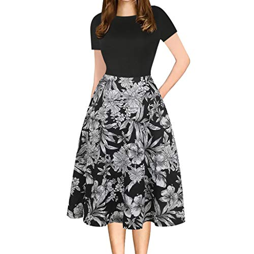 UOKNICE Dresses for Women, Spring Summer Casual Round Neck Flower Patchwork Pockets Puffy Swing Print Party Dress Ruffle sexis 21st Photo Printed at BCBG Patterns Couture Mauve Over ()