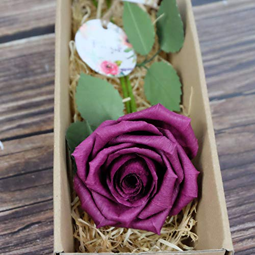 CamelliaBees Realistic Paper Rose in Gift Box Romantic Gift for Her Anniversary Valentine's Day Christmas Mothers Day Birthday Gift, Handmade Paper Ecuador Rose, Burgundy Deep Red