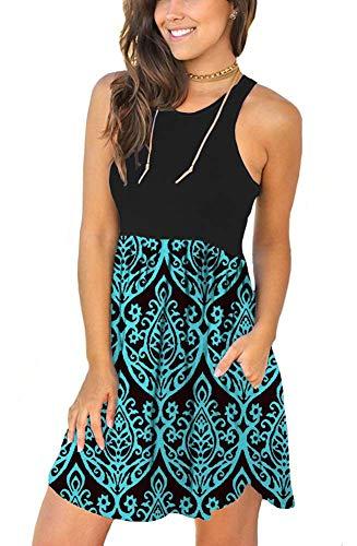 (WNEEDU Women's Sleeveless Loose Plain Dresses Casual Short Dress with Pockets (M, Black Green))