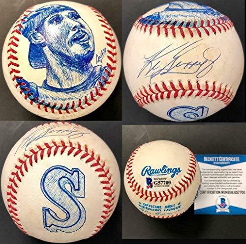 Ken Griffey Jr Autographed Baseball - Ken Griffey Jr. Signed Baseball - AL w Original Sketch ~ Beckett BAS COA - Beckett Authentication - Autographed Baseballs