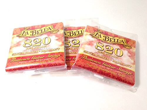 (La Bella Guitar Strings 3 Pack Nylon #820 Red Nylon Silver Plated Flamenco)
