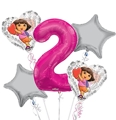 - Dora the Explorer Balloon Bouquet 2nd Birthday 5 pcs - Party Supplies