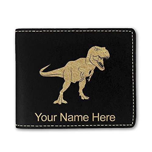 Faux Leather Wallet, Tyrannosaurus Rex Dinosaur, Personalized Engraving Included (Black) ()
