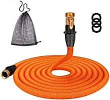 TACKLIFE [Classic Essential 50ft Expandable Garden Hose with Double Latex Core, 3/4' Brass Connectors, No-Kink Flexible...