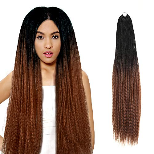 FASHION IDOL MAXIN Series Long Kinky Straight Crochet Hair Yaki Straight Twist Braids Kanekalon Synthetic Dreadlocks Long Braiding Hair Extension 28 Inch Marley Braids Hair (Ombre Gold TT1B/30)
