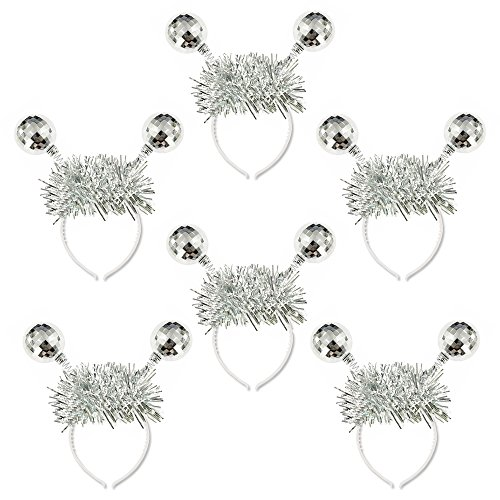 Crazy Night Silver Head Boppers Hair Accessories Silver Disco Ball Boppers-6Pcs -