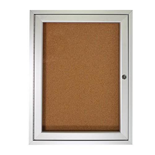 Ghent PA13624K 1 Door Enclosed Natural Cork Bulletin Board with Satin Frame 3'H x (1 Door Enclosed Natural)