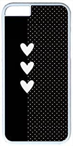 Black and White Polka Dots Hearts White iPhone 6 Case Cover by rushername