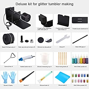Sntieecr Epoxy Glitter Tumbler Full Kits with Tumbler Turner Machine, Bubble Buster Tool Heat Gun, 18 Pieces Glitter Powder, Silicone Mat and Silicone Epoxy Brushes for DIY Epoxy Resin Craft Tumblers