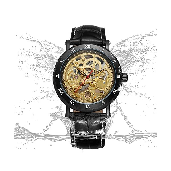 Bestn Men's Steampunk Skeleton Mechanical Self-Wind Wristwatch Black PU Leather Watch 5
