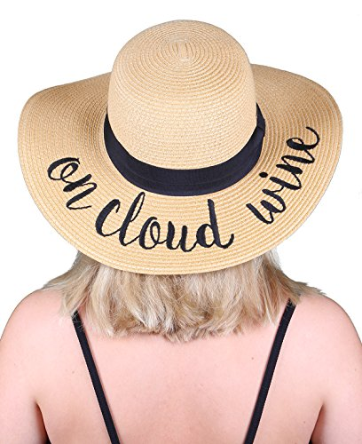 bb5d32e9300b3 Funky Junque Women s Bold Cursive Embroidered Adjustable Beach Floppy Sun  Hat - Buy Online in Oman.