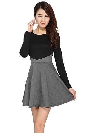 ccf9fec2a Womens Fall Winter Long Sleeve Dresses Slim Fit Knit Cotton Cute ...
