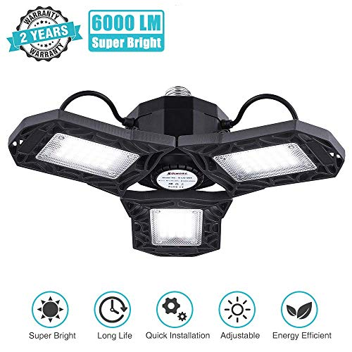 LED Garage Lights, SOLMORE LED Garage Ceiling Lights 6000LM 60W Deformable Garage Lighting 3 Adjustable Panels Shop Lights LED Light Bulb for Garage Basement Workshop (NO Motion Activated)