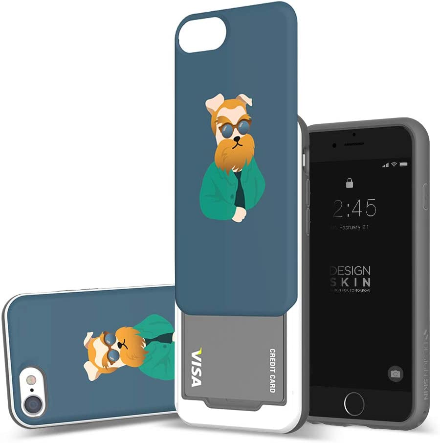DesignSkin iPhone 8+ Sliding Card Holder Case, Extreme Heavy Duty Triple Layer Bumper Protection Wallet Cover with Storage Slot for Apple iPhone 8 Plus / 7 Plus (Van Gogh/Puppy)