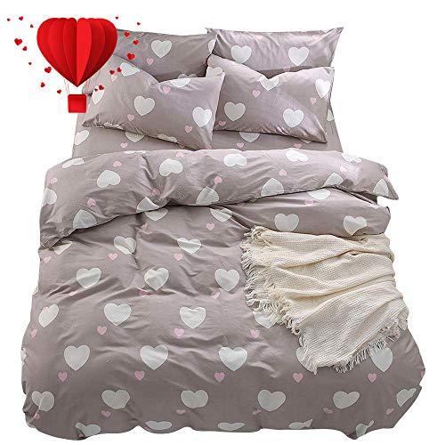 BuLuTu Girls Bedding Twin Duvet Cover Cotton,Kiss Love Print 3 Pieces Kids Duvet Cover Twin Light Brown with Zipper Closure and Corner Ties,68x86 in,Lightweight,Hypoallergenic,No Comforter