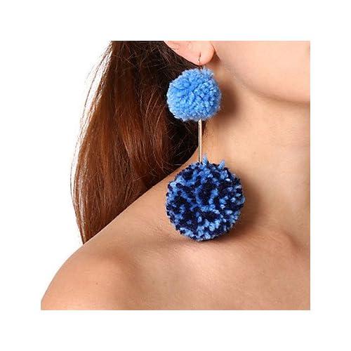 MJW&EH Femme Boucles d'oreille goutte Boucles d'oreilles à billes , énorme Mode Cuivre Fourrure Balle Bijoux Quotidien Plein Air Bijoux de
