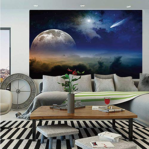 SoSung Outer Space Wall Mural,Vibrant Clouds Full Moon Rise and Comet in Dark Sky Celestial Horizon Twilight Decorative,Self-Adhesive Large Wallpaper for Home Decor 83x120 inches,Blue Yellow