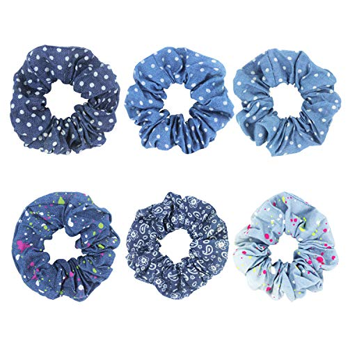 - SUSULU Scrunchies Hair Ties for Women - Pack of 6 Paisley Patterned Scrunchy Elastics Colored Dots Polka Dot Jeans Hair Ring Ponytail Holder Hair Decoration