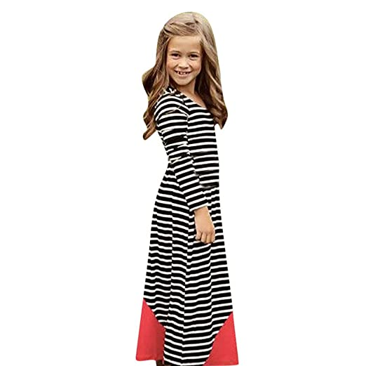 9cd1e5c5c7 ANBOO Mommy&Me Matching Stripe Long Sleeve Maxi Dress Family Outfits Clothes  (80, Baby)