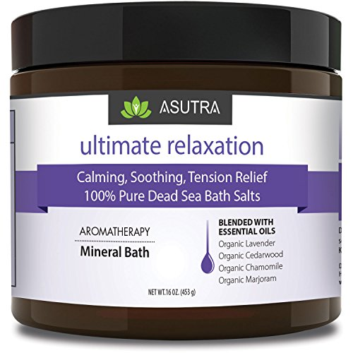 ASUTRA ULTIMATE RELAXATION - 100% Pure Dead Sea Bath Salts - Melt Tension Away - Organic Cedarwood, Chamomile, Lavender, Marjoram Essential Oils, Rich in Healing Minerals. (Organic Lavender Bath Soak)