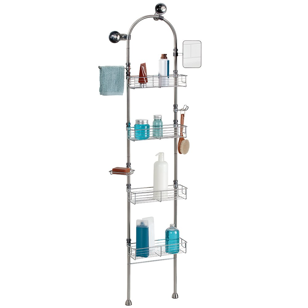 Bathroom floor caddy - Interdesign Forma Bathroom Floor Standing Shower Caddy Station For Shampoo Conditioner Soap Brushed Stainless Steel Amazon Co Uk Kitchen Home