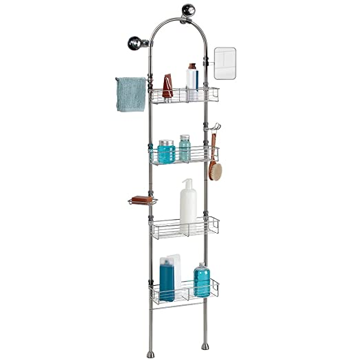 InterDesign Forma Bathroom Floor Standing Shower Caddy Station For Shampoo Conditioner Soap