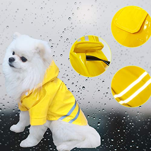 (Cutie Pet Dog Raincoat Waterproof Coats for Dogs Lightweight Rain Jacket Breathable Rain Poncho Hooded Rainwear with Safety Reflective Stripes (XL, Yellow))