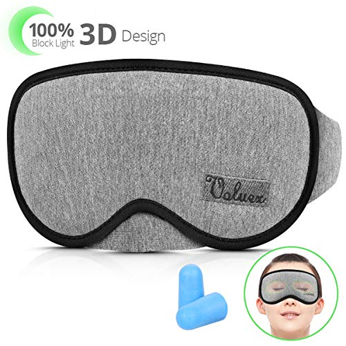 Upgraded Sleep Mask, VOLUEX Sleeping Mask for Kids Women Men, Adjustable Contour 3D Eye Face Mask for Sleeping, 100% Block Out Light Washable Comfy Breathable Cotton Sleep Masks Blindfold for Travel
