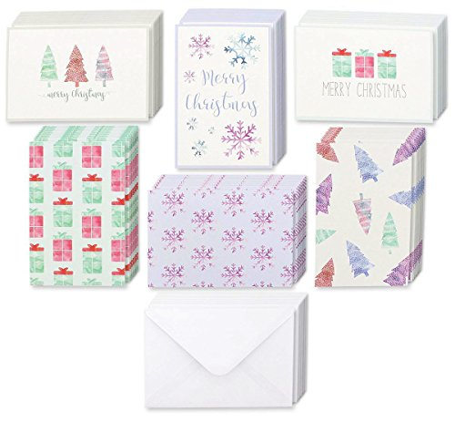 Winter Holiday Greeting Cards - 6 Assorted Christmas Greetings with Christmas Trees, Snowflakes, Gift Boxes, Merry Christmas, Envelope Included - 48 (Holiday Snowflake Gift Card)