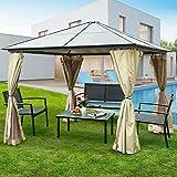 Tangkula 10'x10' Hardtop Aluminum Permanent Gazebo Canopy Tent Outdoor Patio Garden Shelter Tent W/2 Layers Sidewalls