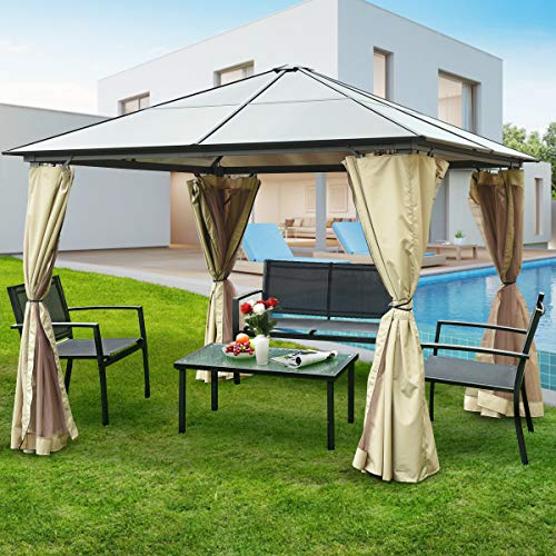 Tangkula 10 x10 Hardtop Aluminum Permanent Gazebo Canopy Tent Outdoor Patio Garden Shelter Tent W 2 Layers Sidewalls