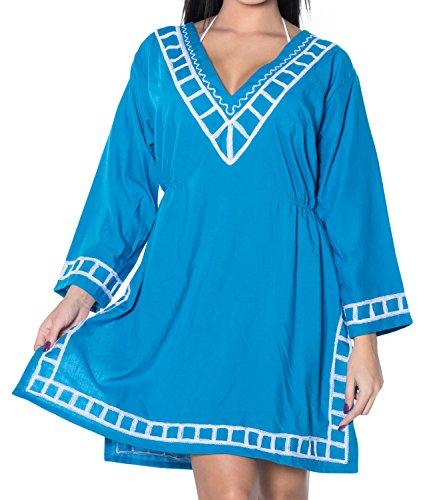La Leela rayón viscosa bordados playa llana encubrir túnica mujeres ocasionales de la blusa de la parte superior Azul