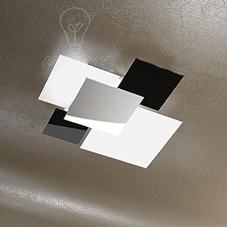 LAMPADA LAMPADARIO MODERNO TOP LIGHT 1088/70-NE VETRI BIANCHI NERI ...