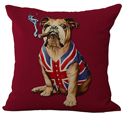 (Creative personality American flag and Union Jack pet dog Home Throw Pillow Case Personalized Cushion Cover NEW Home Office Decorative Square 18 X 18 Inches (English)